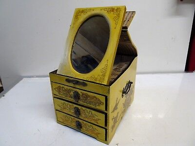 Vintage Chinese Wooden Jewellery Box 3 Draw & Mirror
