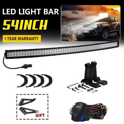 54Inch 312W Curved Combo LED Light Bar Offroad For ATV SUV 4x4 Boat Lightings