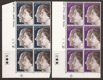 GB QEII 1972 SG916/917 Royal Silver Wedding Corner Blocks of 6 MNH (JB2126)