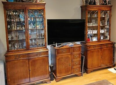 3x  YEW WOOD GEORGIAN STYLE ASTRAL GLAZED BOOKCASE / DISPLAY CABINET.
