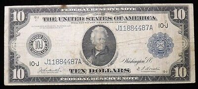 1914  10 Dollar Federal Reserve Paper Note   Circulated