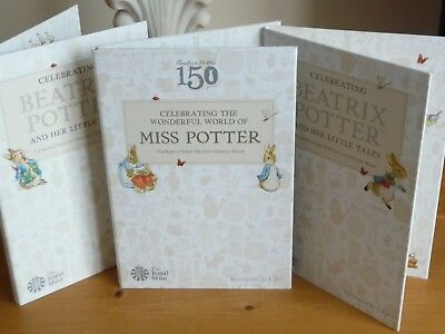 All 3 Beatrix Potter 50p Coin Albums, 2016 2017 & 2018 Jemima, Peter Rabbit, New