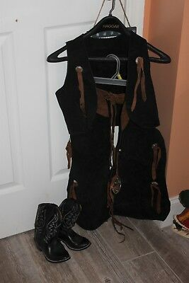 Vintage Antique Childs Western Chaps Vest and Black Cowboy Boots