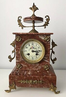 Old Antique French Clock Marble Mantel Clock Beautiful Face
