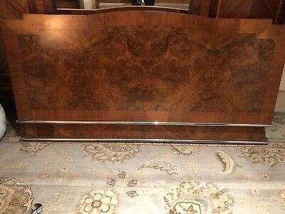 Antique Art Deco Walnut/Steel Double Bed Frame by VONO (incl. mattress base)