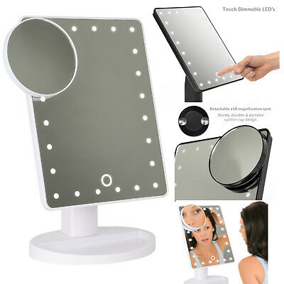 TOUCH LED 24 Light Up Illuminated Make Up Mirror With Magnifier / 2 Colours #M2