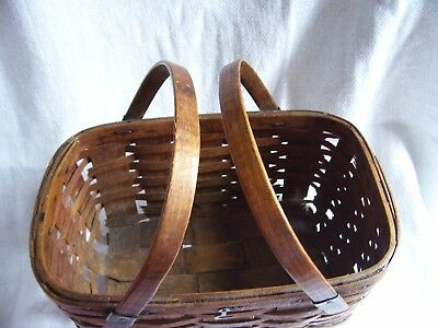 Antique  Primitive Wood Basket Double Handles