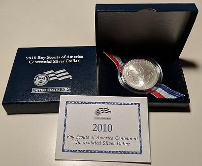 2010 Boy Scouts Of America Centennial Uncirculated Silver Dollar Commemorative