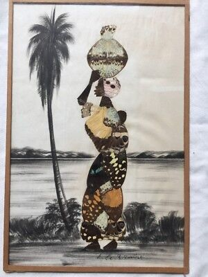 Beautiful Large Signed African Butterfly Wing Picture Rare Traditional Art Woman