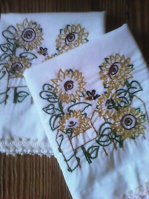Vintage Embroidered Pillowcases (One Pair) Sunflowers Embroidery