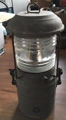 """Antique Large & Heavy Masthead Anchor Light With Clear Fresnel Lens 16"""" Perko"""