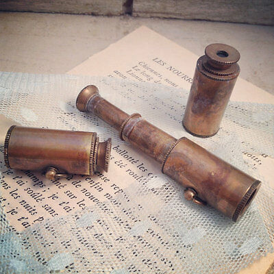 Vintage Style Collapsible Pirate WORKING Telescope SPYGLASS Pendant Charm Brass