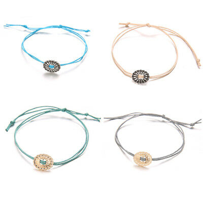 4 Piece Bohemian Rope Bracelet Romantic Floral Round Shaped Jewelry LH