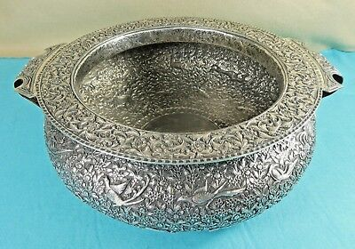 Magnificent South Indian Sterling Silver Urli Bowl Birds Tiger Elephant Ca1880