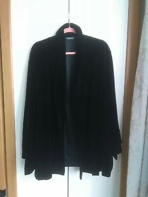 Vintage Laura Ashley Black Velvet Silk Coat large 16 /18  20 Lined Kimono Jacket