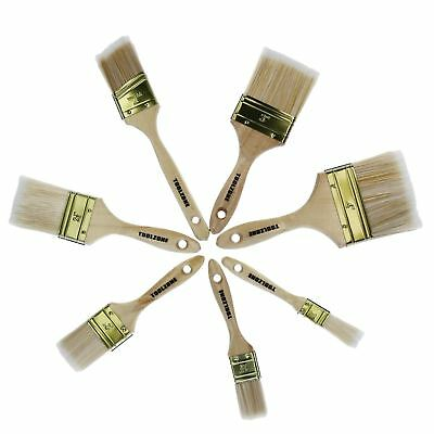 7pc Contractors Paint Brush Decorating Painters Wooden Handle Varnish Wall