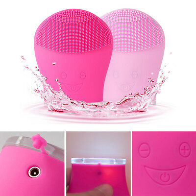 Silicone Facial Cleansing Brush Electric Wash Face Massager Cleanser Waterproof