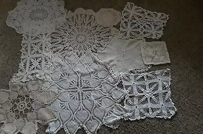 Vintage Lot Of 10 Assorted Crocheted Doilies