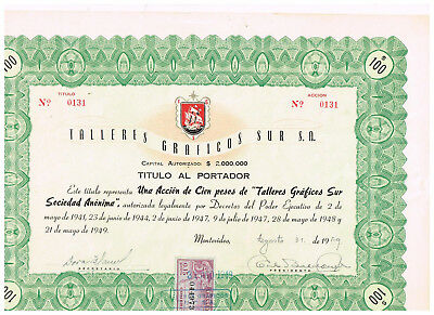 Talleres Graficos sur S.A., Montevideo 1946, tax stamp