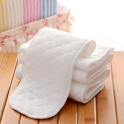 5 PCS Reusable Baby Cotton Modern Cloth Diaper Nappy Liners insert 3 Layers
