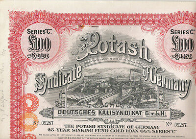 Potash Syndicate of Germany, 1929, LB 100 Sinking Fund Gold Loan
