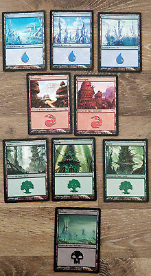 Lot de 9 terrains de base FOIL - Édition Mirrodin - Magic MTG FR NM