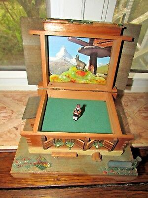 Rare Vintage Unique Swiss Chalet Music Box With Relief Picture Of Swiss Mountain