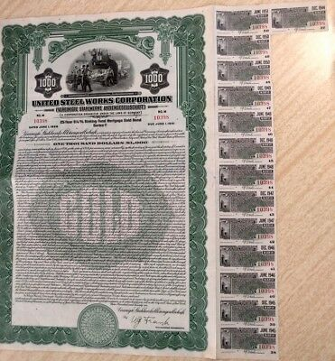 Germany 1926 United Steel Works 1000 Dollars Coupons UNC WITHOUT HOLES Bond ABNC