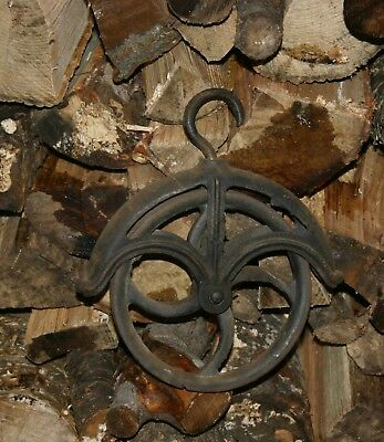 Antique Cast Iron Lg. Wheel Well Pulley Barn Industrial w/ Rope Guard +Hang.Hook