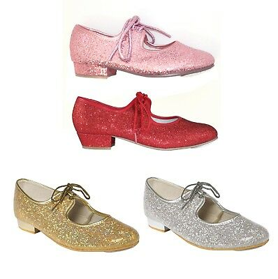 New Tappers And Pointers Girls Ladies Glitter Hologram Tap Dance Dancing Shoes