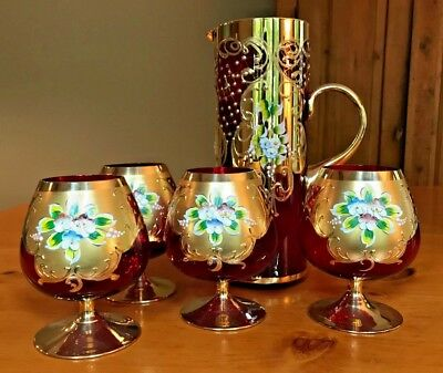 Antique Venetian Brandy Snifters and Pitcher