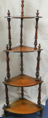 Antique Victorian What Not Corner Stand Inlaid Mahogany 4 Tier Shelves