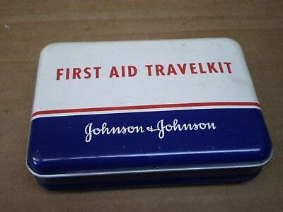 Vintage Metal First Aid Travel Kit Johnson & Johnson W/content Pocket New Jersey