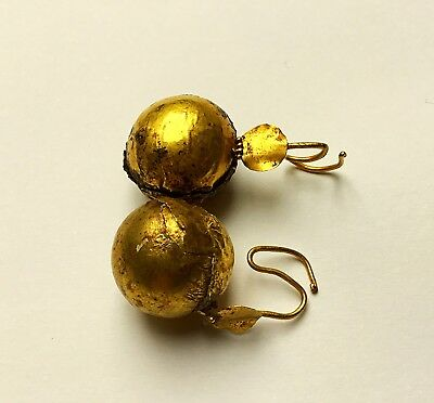 Rare Genuine Large Solid Gold Ancient Roman Globe Earrings With X 13.6 Grms WOW