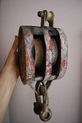 """Huge +++ Double +++ 8"""" Old Wood Block Pulley Tackle"""