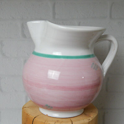 "Pink Garland by Caleca Ceramic Pottery Pitcher 6.5"" Hand Painted Italy"