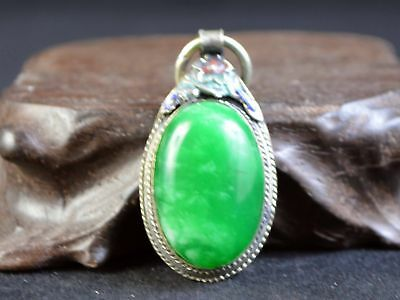 Old Jade&tibetan Silver Carving Flower Statue Pendant Collection Amulet