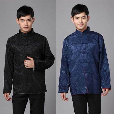Traditional Chinese Clothes Tang Suit Two Sided Men's Coat Silk Print Jacket New