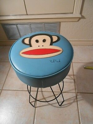 "Rare Vintage Paul Frank Blue Stool "" Julius The Monkey "" Signed Htf Excellent"