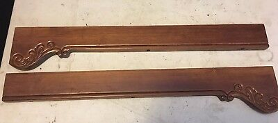 "2 Vtg Wood Architectural Salvage Carved Mahogany Pediments Repurpose 25.75"" (B)"