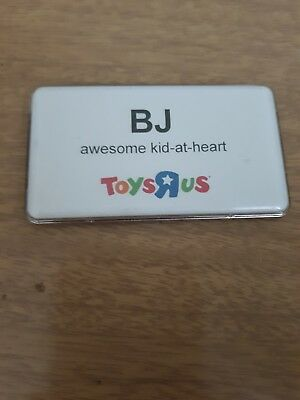 Toys R Us Job Work Tag Customized BJ Magnetic Tab Plastic Name Badge Collectable