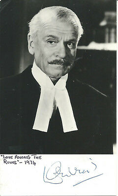 """LAURENCE OLIVIER LOVE AMONG THE RUINS 3"""" X 5"""" SIGNED AUTOGRAPHED PHOTO d. 1989"""