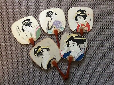 5 Vintage Japanese GEISHA FANS from the 1980's