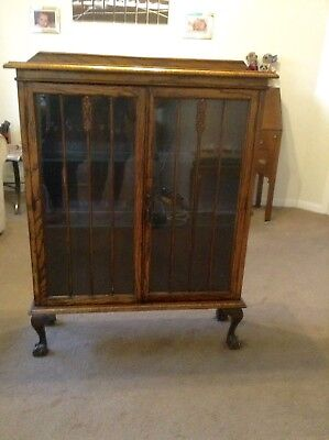 Vintage Display Cabinet 2 glass shelves - carved detail - claw ball feet