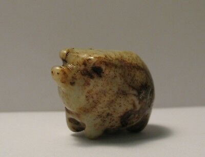 Antique Vtg Japanese Carved Jade Netsuke of a Pig Animal ~ 19th century