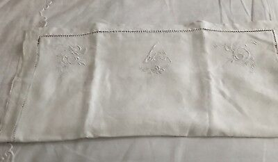 Beautiful Creamy Linen French Continental Pillowcase With S Monogram