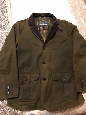 Mens Barbour Lutz Waxed Jacket / Coat - Olive Green Size L,