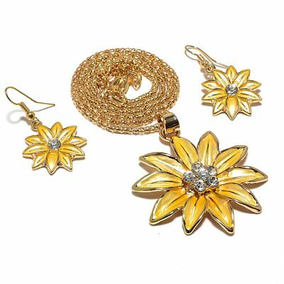 Sun Flower White Topaz 14 Ct Gold Plated 925 Sterling Silver Jewelry Set