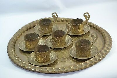 Antique arabic Vintage collection brass copper tray ,six cups islamic hand made