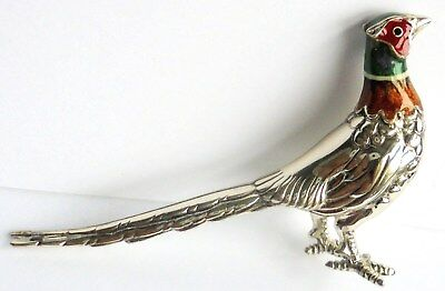 Large Sterling Silver and Enamel Pheasant by Saturno. Good Condition.